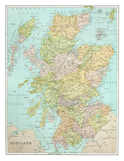 Old map of Scotland - Published 1894. Antique Illustration, Copyright has expired on this artwork