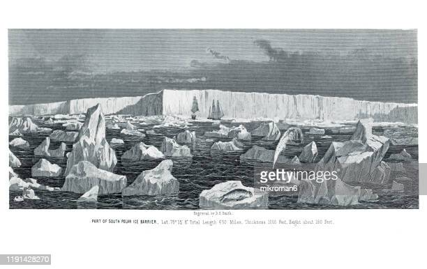 antique illustration - icebergs, ice popular encyclopedia published 1894. copyright has expired on this artwork - archival stock pictures, royalty-free photos & images