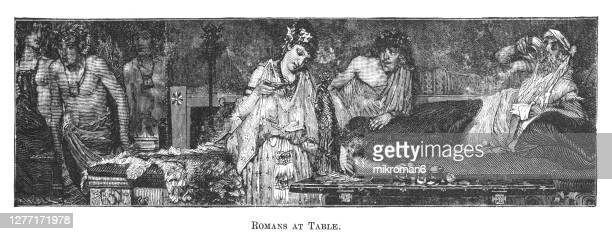 antique illustration of a ancient roman banquet, banquet at a wealthy home in ancient rome - antiquities stock pictures, royalty-free photos & images