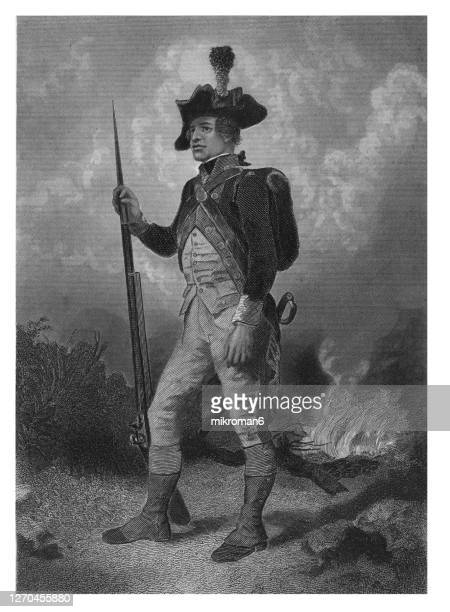 antique illustration of american soldier during revolutionary war - continental soldier, north. - american civil war stock pictures, royalty-free photos & images