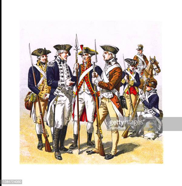 antique illustration of american uniforms in the revolutionary war - civil war stock pictures, royalty-free photos & images
