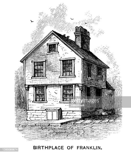 antique illustration of birthplace of benjamin franklin - history stock pictures, royalty-free photos & images