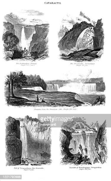 antique illustration of cataracts, waterfalls - popular encyclopedia published 1894. copyright has expired on this artwork - niagara falls photos stock pictures, royalty-free photos & images