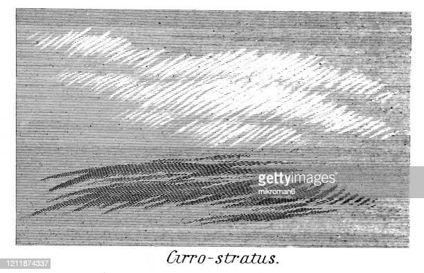antique illustration of cirro-stratus cloud, popular encyclopedia published 1894. copyright has expired on this artwork - flowing water stock pictures, royalty-free photos & images