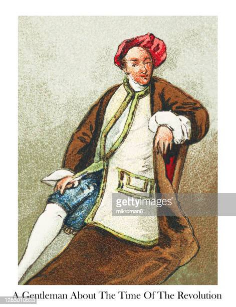 antique illustration of colonial costumes, gentleman about the time of the revolution - victorian stock pictures, royalty-free photos & images