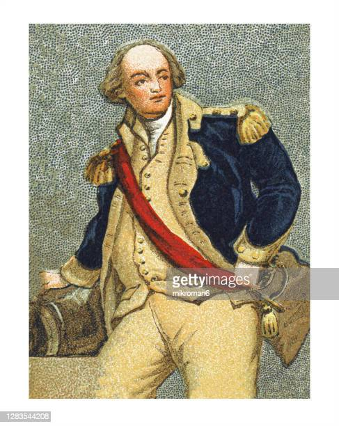 antique illustration of colonial costumes, officer in the revolution - military uniform stock pictures, royalty-free photos & images
