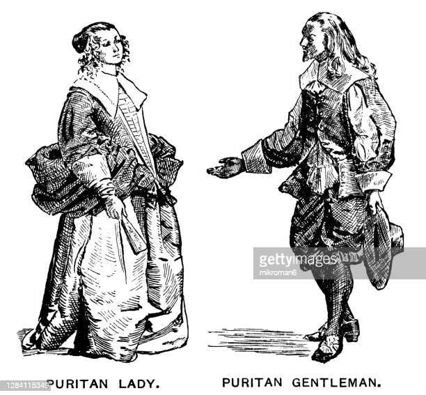 antique illustration of colonial costumes, puritans gentleman and lady - american culture stock pictures, royalty-free photos & images