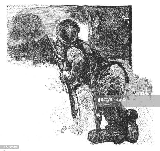 antique illustration of colonial soldier on battlefield - american culture stock pictures, royalty-free photos & images
