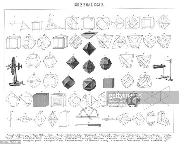 antique illustration of forms of minerals and gems, mineralogy - high scale magnification stock pictures, royalty-free photos & images