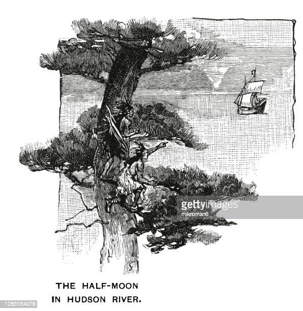 antique illustration of halve maen dutch ship (english: half moon) - new york harbour stock pictures, royalty-free photos & images