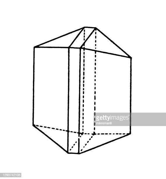 antique illustration of monoclinic crystal system, (monosymmetric system) - shape stock pictures, royalty-free photos & images