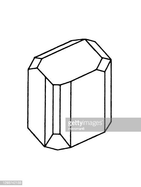 antique illustration of monoclinic crystal system, (monosymmetric system) - archival stock pictures, royalty-free photos & images