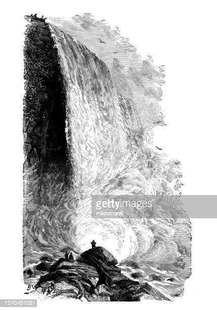 antique illustration of niagara falls, ontario, canada - niagara falls photos stock pictures, royalty-free photos & images