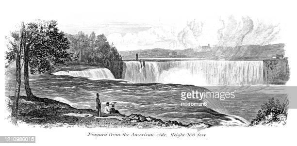 antique illustration of niagara falls, ontario - popular encyclopedia published 1894. copyright has expired on this artwork - niagara falls photos stock pictures, royalty-free photos & images
