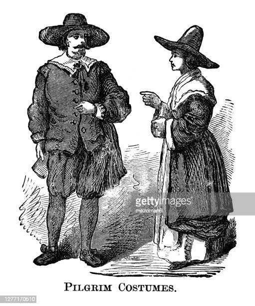 antique illustration of pilgrim costumes - american culture stock pictures, royalty-free photos & images