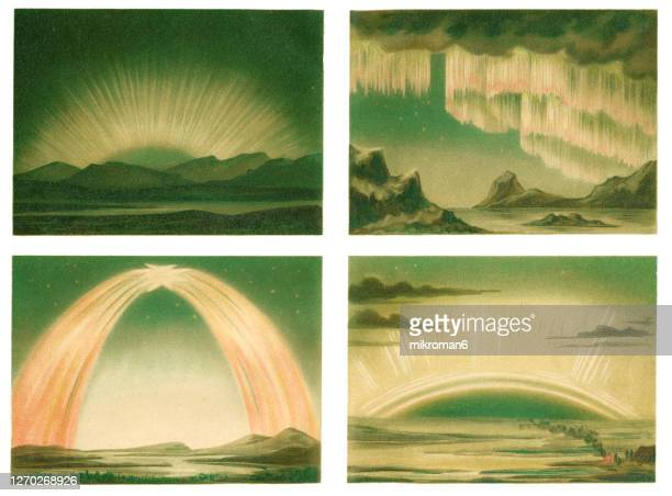 antique illustration of polar light, aurora borealis - antarctic ocean stock pictures, royalty-free photos & images