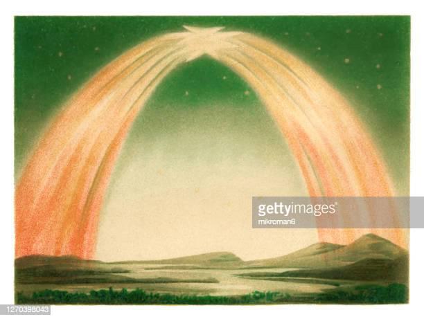 antique illustration of polar light, aurora borealis - antarctic ocean stock pictures, royalty-free photos & images