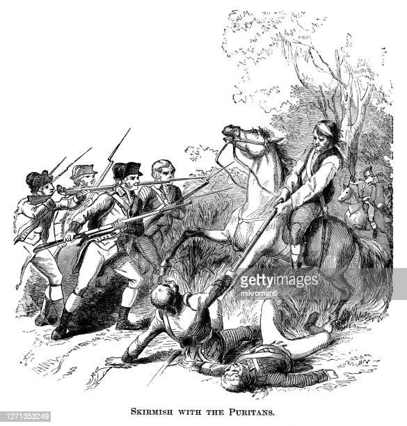 antique illustration of skirmish with the puritans - american civil war stock pictures, royalty-free photos & images