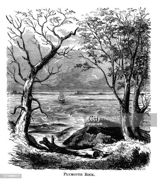 antique illustration of the landing place of the mayflower pilgrims. plymouth rock in plymouth, massachusetts, usa. - pilgrim stock pictures, royalty-free photos & images
