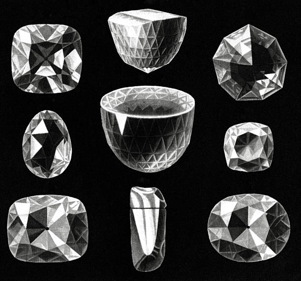 Antique Illustration of The largest and most famous diamonds (Great Mogul, The Orlov, Koh-i-Noor)