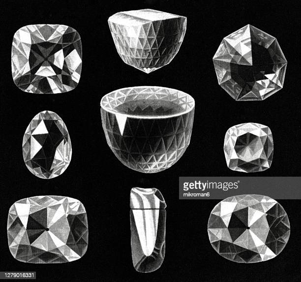 antique illustration of the largest and most famous diamonds (great mogul, the orlov, koh-i-noor) - high scale magnification stock pictures, royalty-free photos & images