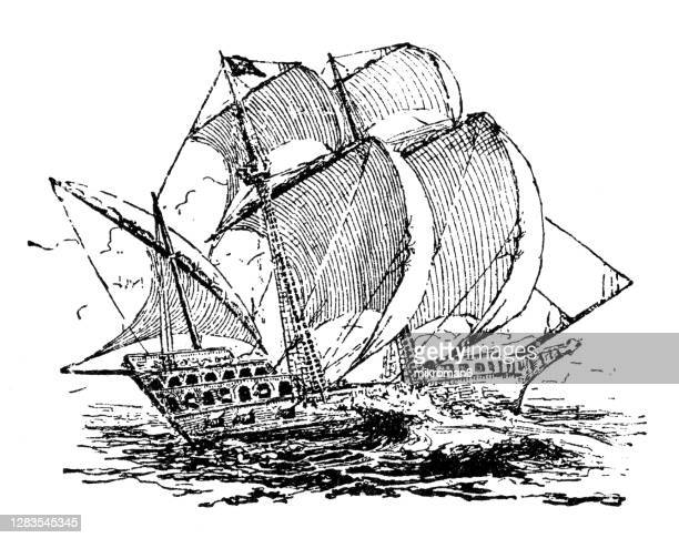 antique illustration of the mayflower, english ship - emigration and immigration stock pictures, royalty-free photos & images