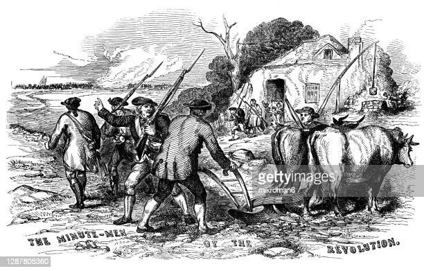 """antique illustration of the """"minute-men"""" of the american revolution - revolution stock pictures, royalty-free photos & images"""