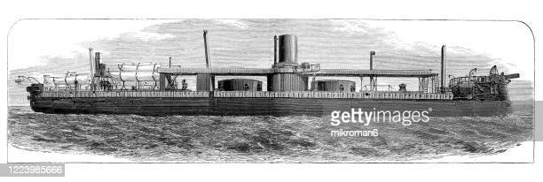 antique illustration of warship - modern types, copyright has expired on this artwork - battleship stock pictures, royalty-free photos & images