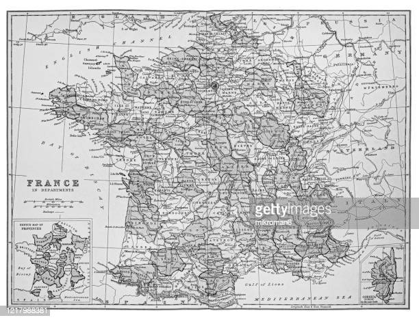 old map of france - published 1894. antique illustration, popular encyclopedia published 1894. copyright has expired on this artwork - physische geographie stock-fotos und bilder