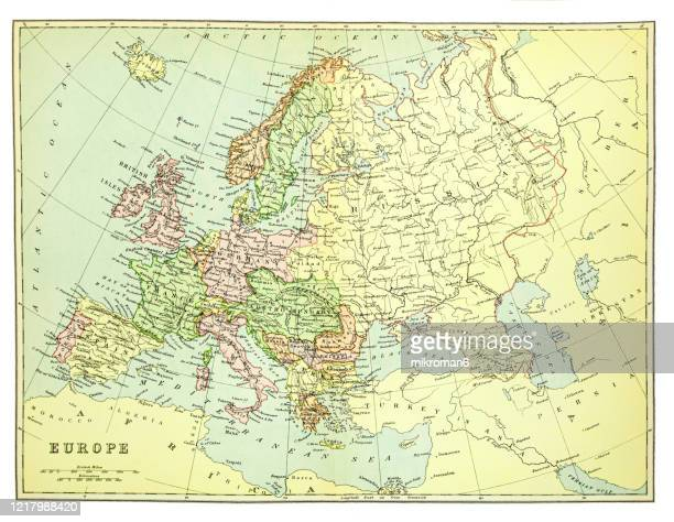old map of europe - published 1894. antique illustration, popular encyclopedia published 1894. copyright has expired on this artwork - westeuropa stock-fotos und bilder