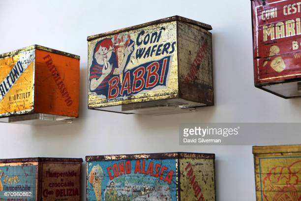 Antique Italian gelato wafer boxes on display at the Carpigiani Gelato Museum on March 28 2017 in Bologna Italy Italian brothers Bruto and Poerio...