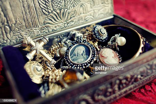 antique jewelry box - antique stock pictures, royalty-free photos & images