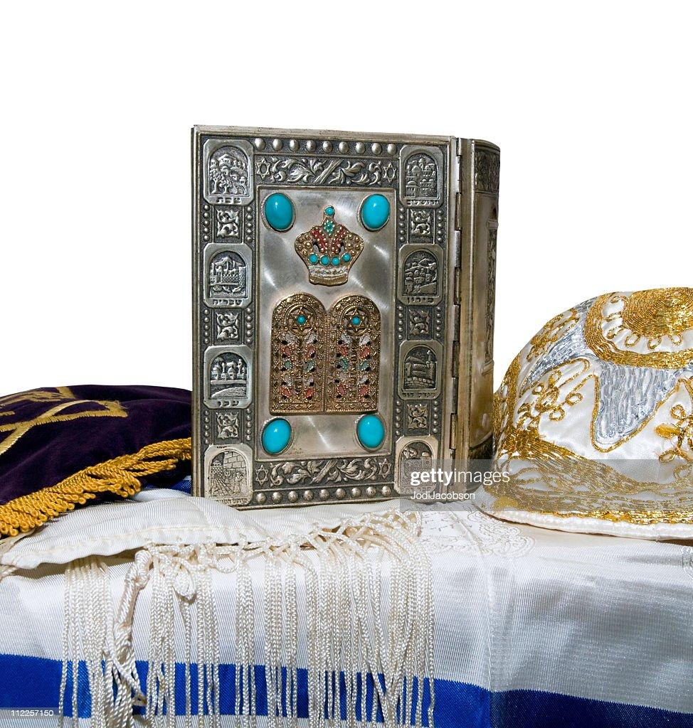 Antique Jewish Bible, Yarmulka & Tallis : Stock Photo