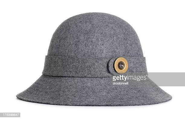 Antique Ladies Grey Felt Hat