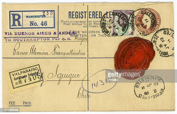 Antique Letter Envelope with Wax Seal and Postmarks