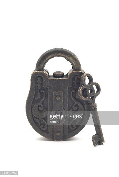 antique lock and skeleton key - padlock stock photos and pictures