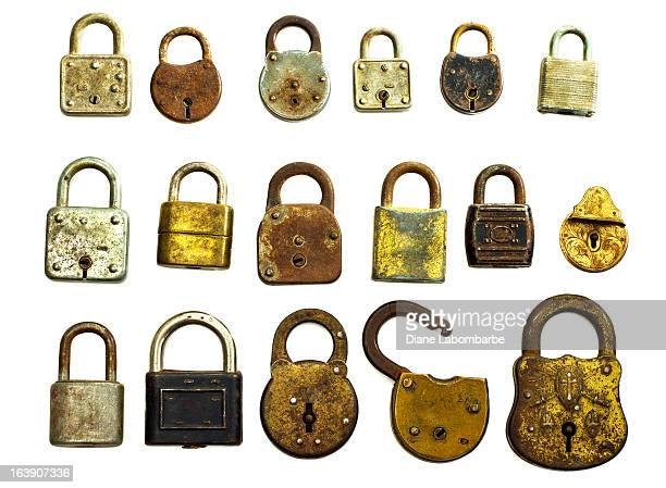 antique locks isolated on white - locking stock pictures, royalty-free photos & images