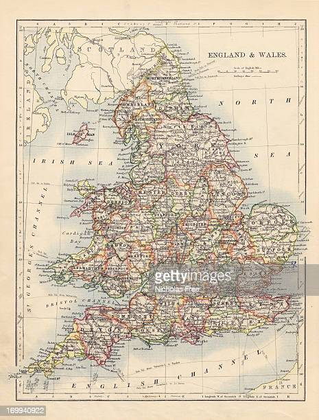 antique map of england & wales - maps stock photos and pictures