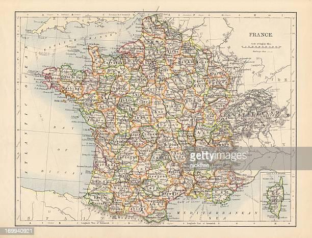 アンティークの地図フランス