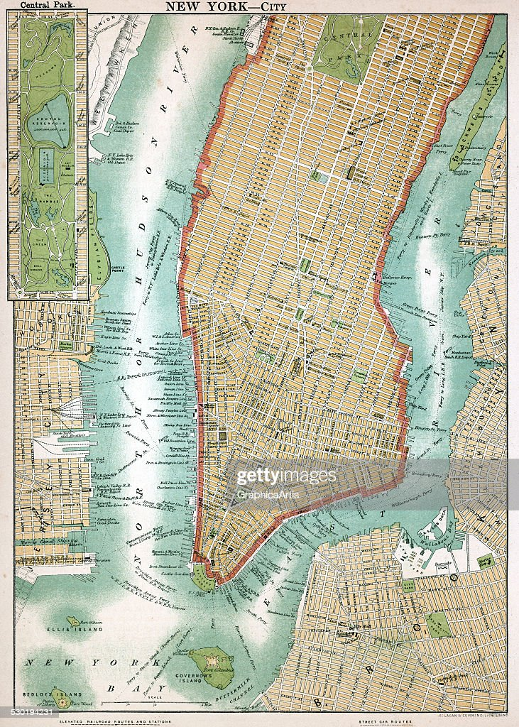 Antique Map Of Lower Manhattan Pictures Getty Images