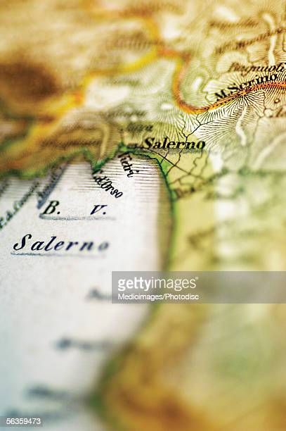 Antique map of Salerno, Italy