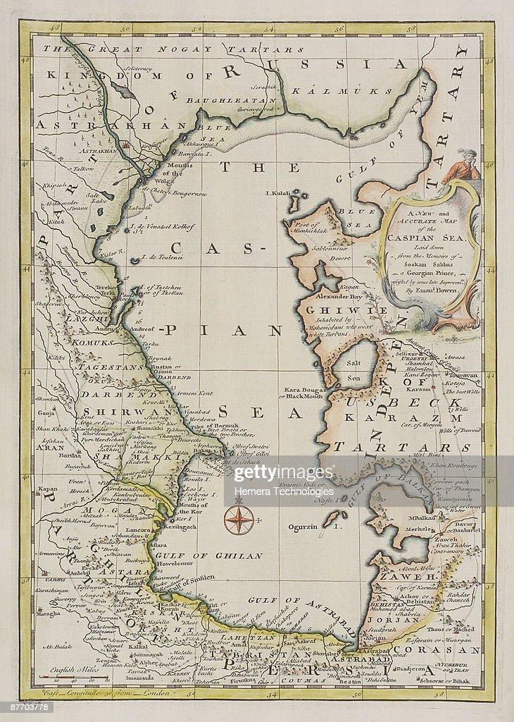 Antique Map Of The Caspian Sea Region In Europe Stock-Foto - Getty ...