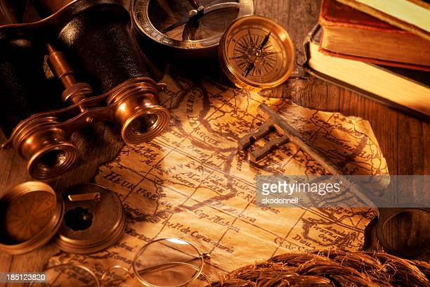 Antique Map on a Wooden Desk