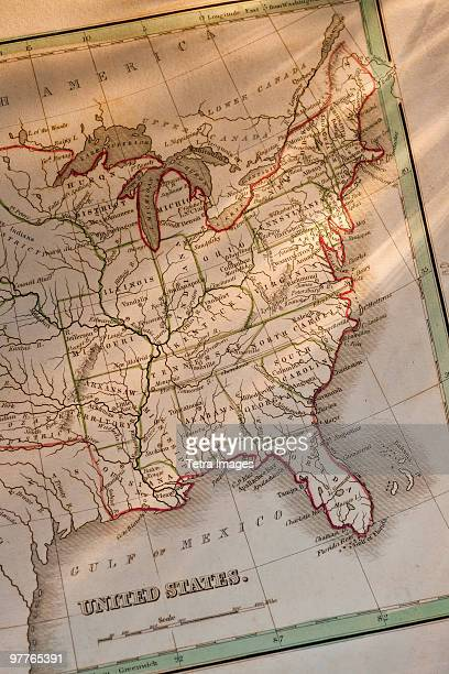antique map - us map stock photos and pictures
