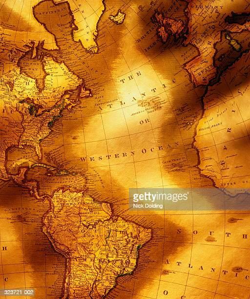 Antique map showing countries bordering Atlantic Ocean