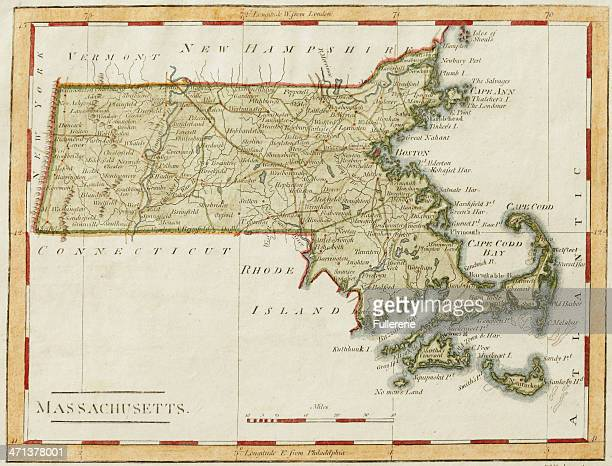 antique massachusetts map - massachusetts stock pictures, royalty-free photos & images