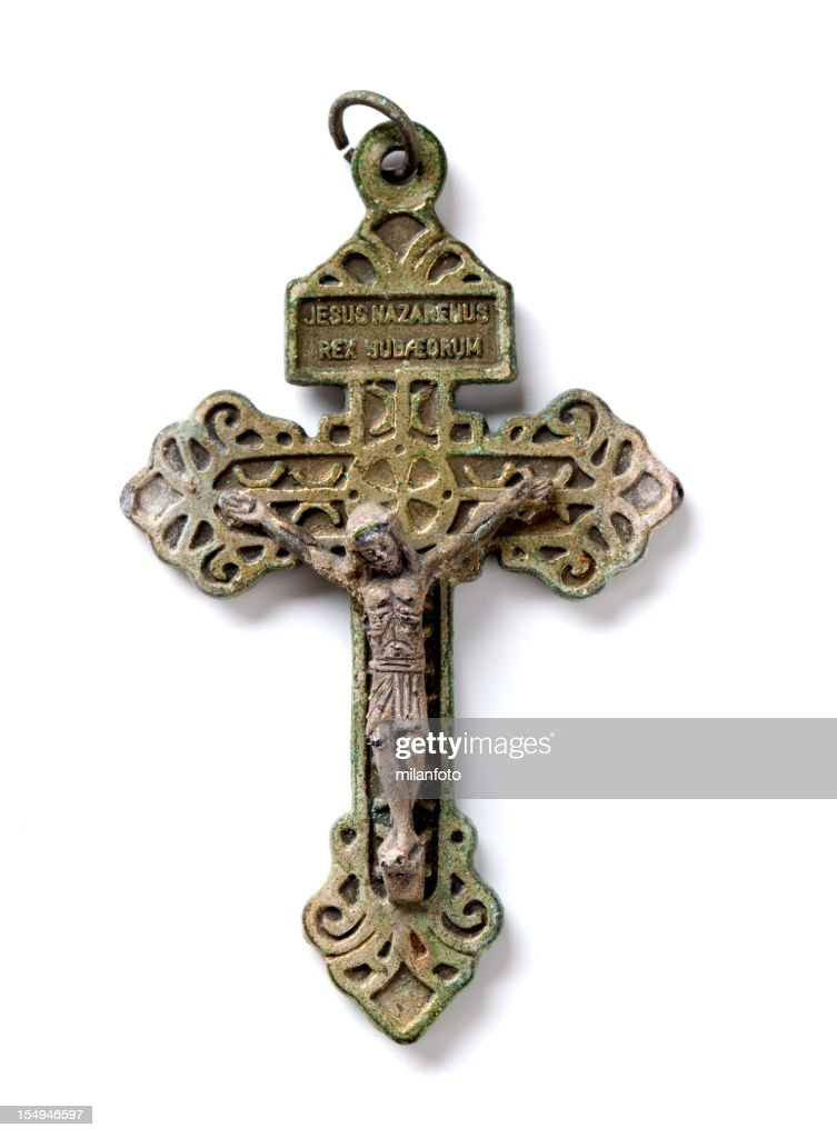 Antique metal crucifix with Jesus Christ : Stock Photo
