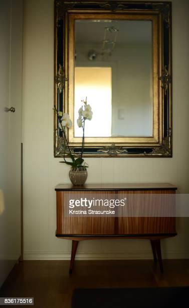 antique mirror and retro style cabinet