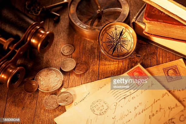 Antique objects on a Old Wooden Desk