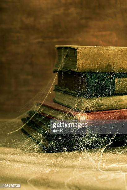 Antique Old Books Covered in Cobwebs